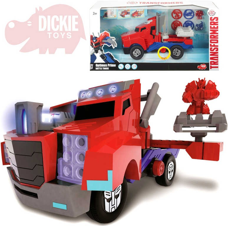 297374ad23 DICKIE Transformers Optimus Prime Battle Truck 23cm na batérie Svetlo Zvuk