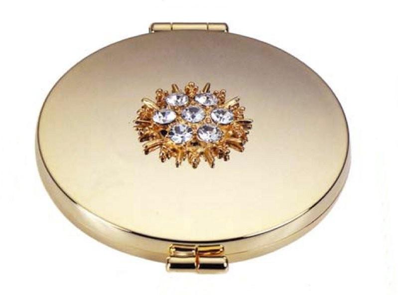 Kozmetické zrkadlo s kryštálmi Swarovski pozlátené - kytička 1054ebcc555
