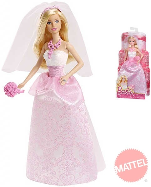 787fdb33d24 MATTEL BARBIE BRB Panenka nevěsta s kyticí v růžovo bílých šatech