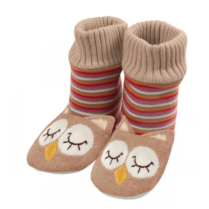 Pletené ponožkové papuče Sovy bdfe1f6e42c
