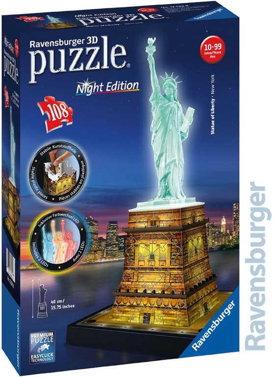 a85480c6c RAVENSBURGER Puzzle 3D Socha slobody Nočná edícia 108 dielikov