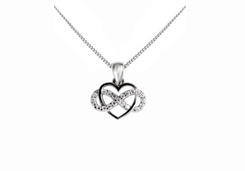 6b1dfafff Strieborný prívesok v tvare srdca so znakom nekonečna vrátane strieborného  retiazky Kliknite pre detailný obrázok