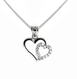 Strieborný prívesok v tvare přelomeného srdca my love 4cd5debb675