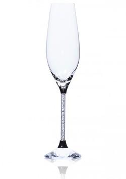 Krištáľové poháre na sekt PENELOPE so stopkou s brúsenými kameňmi Swarovski 9bea3b2fc8b